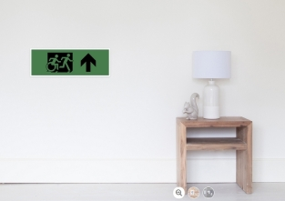Accessible Exit Sign Project Wheelchair Wheelie Running Man Symbol Means of Egress Icon Disability Emergency Evacuation Fire Safety Poster 112