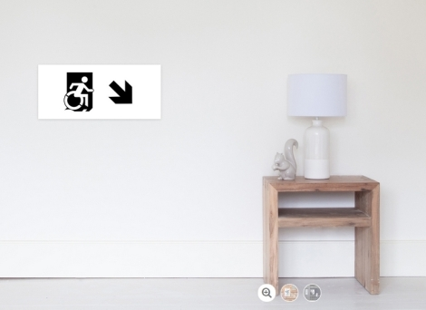 Accessible Exit Sign Project Wheelchair Wheelie Running Man Symbol Means of Egress Icon Disability Emergency Evacuation Fire Safety Poster 114