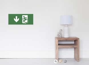 Accessible Exit Sign Project Wheelchair Wheelie Running Man Symbol Means of Egress Icon Disability Emergency Evacuation Fire Safety Poster 13