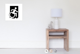 Accessible Exit Sign Project Wheelchair Wheelie Running Man Symbol Means of Egress Icon Disability Emergency Evacuation Fire Safety Poster 30