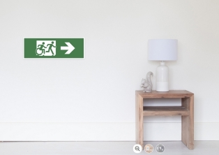 Accessible Exit Sign Project Wheelchair Wheelie Running Man Symbol Means of Egress Icon Disability Emergency Evacuation Fire Safety Poster 40