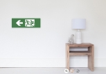 Accessible Exit Sign Project Wheelchair Wheelie Running Man Symbol Means of Egress Icon Disability Emergency Evacuation Fire Safety Poster 47