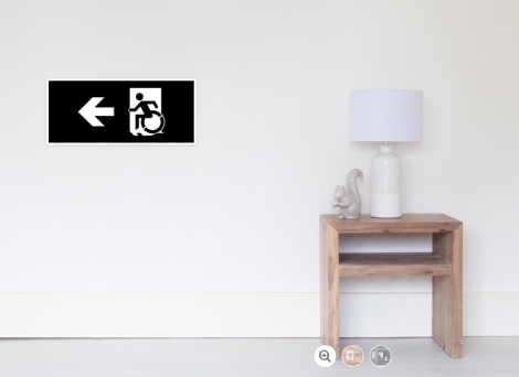 Accessible Exit Sign Project Wheelchair Wheelie Running Man Symbol Means of Egress Icon Disability Emergency Evacuation Fire Safety Poster 53