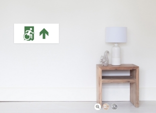 Accessible Exit Sign Project Wheelchair Wheelie Running Man Symbol Means of Egress Icon Disability Emergency Evacuation Fire Safety Poster 85
