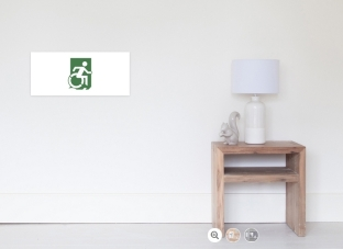 Accessible Exit Sign Project Wheelchair Wheelie Running Man Symbol Means of Egress Icon Disability Emergency Evacuation Fire Safety Poster 90