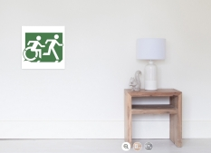 Accessible Exit Sign Project Wheelchair Wheelie Running Man Symbol Means of Egress Icon Disability Emergency Evacuation Fire Safety Poster 92