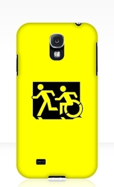 Accessible Exit Sign Project Wheelchair Wheelie Running Man Symbol Means of Egress Icon Disability Emergency Evacuation Fire Safety Samsung Galaxy Case 106