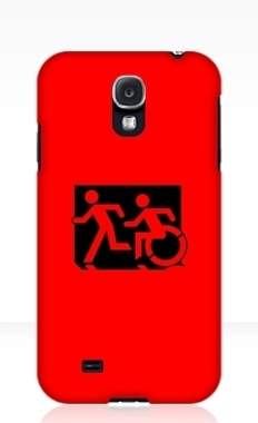 Accessible Exit Sign Project Wheelchair Wheelie Running Man Symbol Means of Egress Icon Disability Emergency Evacuation Fire Safety Samsung Galaxy Case 110