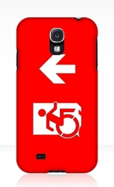 Accessible Exit Sign Project Wheelchair Wheelie Running Man Symbol Means of Egress Icon Disability Emergency Evacuation Fire Safety Samsung Galaxy Case 15