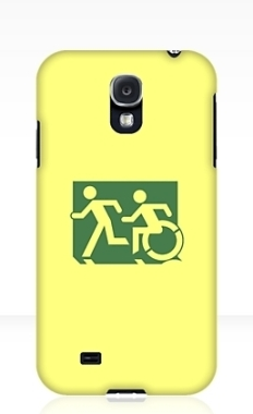 Accessible Exit Sign Project Wheelchair Wheelie Running Man Symbol Means of Egress Icon Disability Emergency Evacuation Fire Safety Samsung Galaxy Case 35