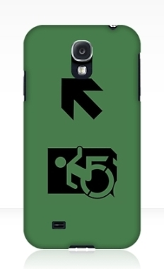 Accessible Exit Sign Project Wheelchair Wheelie Running Man Symbol Means of Egress Icon Disability Emergency Evacuation Fire Safety Samsung Galaxy Case 5