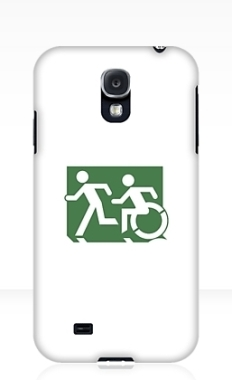 Accessible Exit Sign Project Wheelchair Wheelie Running Man Symbol Means of Egress Icon Disability Emergency Evacuation Fire Safety Samsung Galaxy Case 56