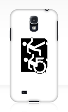 Accessible Exit Sign Project Wheelchair Wheelie Running Man Symbol Means of Egress Icon Disability Emergency Evacuation Fire Safety Samsung Galaxy Case 69