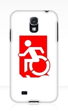 Accessible Exit Sign Project Wheelchair Wheelie Running Man Symbol Means of Egress Icon Disability Emergency Evacuation Fire Safety Samsung Galaxy Case 92