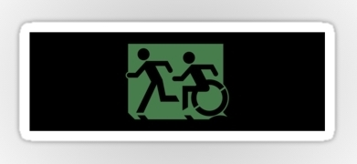 Accessible Exit Sign Project Wheelchair Wheelie Running Man Symbol Means of Egress Icon Disability Emergency Evacuation Fire Safety Sticker 1