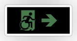 Accessible Exit Sign Project Wheelchair Wheelie Running Man Symbol Means of Egress Icon Disability Emergency Evacuation Fire Safety Sticker 103