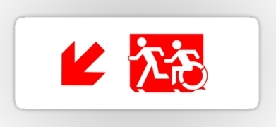 Accessible Exit Sign Project Wheelchair Wheelie Running Man Symbol Means of Egress Icon Disability Emergency Evacuation Fire Safety Sticker 104