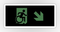 Accessible Exit Sign Project Wheelchair Wheelie Running Man Symbol Means of Egress Icon Disability Emergency Evacuation Fire Safety Sticker 105