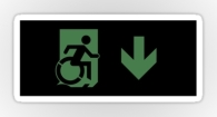 Accessible Exit Sign Project Wheelchair Wheelie Running Man Symbol Means of Egress Icon Disability Emergency Evacuation Fire Safety Sticker 106