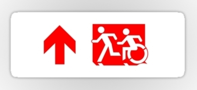 Accessible Exit Sign Project Wheelchair Wheelie Running Man Symbol Means of Egress Icon Disability Emergency Evacuation Fire Safety Sticker 107