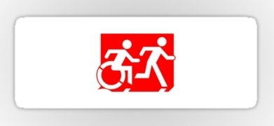 Accessible Exit Sign Project Wheelchair Wheelie Running Man Symbol Means of Egress Icon Disability Emergency Evacuation Fire Safety Sticker 108