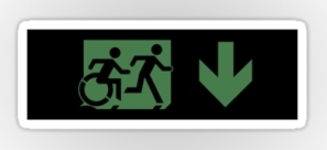 Accessible Exit Sign Project Wheelchair Wheelie Running Man Symbol Means of Egress Icon Disability Emergency Evacuation Fire Safety Sticker 109