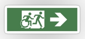 Accessible Exit Sign Project Wheelchair Wheelie Running Man Symbol Means of Egress Icon Disability Emergency Evacuation Fire Safety Sticker 11