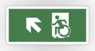 Accessible Exit Sign Project Wheelchair Wheelie Running Man Symbol Means of Egress Icon Disability Emergency Evacuation Fire Safety Sticker 110