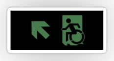 Accessible Exit Sign Project Wheelchair Wheelie Running Man Symbol Means of Egress Icon Disability Emergency Evacuation Fire Safety Sticker 111