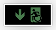 Accessible Exit Sign Project Wheelchair Wheelie Running Man Symbol Means of Egress Icon Disability Emergency Evacuation Fire Safety Sticker 113