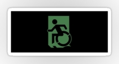 Accessible Exit Sign Project Wheelchair Wheelie Running Man Symbol Means of Egress Icon Disability Emergency Evacuation Fire Safety Sticker 114