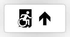 Accessible Exit Sign Project Wheelchair Wheelie Running Man Symbol Means of Egress Icon Disability Emergency Evacuation Fire Safety Sticker 115