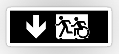 Accessible Exit Sign Project Wheelchair Wheelie Running Man Symbol Means of Egress Icon Disability Emergency Evacuation Fire Safety Sticker 116