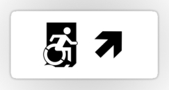 Accessible Exit Sign Project Wheelchair Wheelie Running Man Symbol Means of Egress Icon Disability Emergency Evacuation Fire Safety Sticker 117