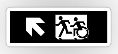 Accessible Exit Sign Project Wheelchair Wheelie Running Man Symbol Means of Egress Icon Disability Emergency Evacuation Fire Safety Sticker 118