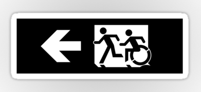 Accessible Exit Sign Project Wheelchair Wheelie Running Man Symbol Means of Egress Icon Disability Emergency Evacuation Fire Safety Sticker 119