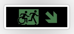Accessible Exit Sign Project Wheelchair Wheelie Running Man Symbol Means of Egress Icon Disability Emergency Evacuation Fire Safety Sticker 120