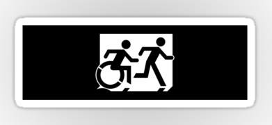 Accessible Exit Sign Project Wheelchair Wheelie Running Man Symbol Means of Egress Icon Disability Emergency Evacuation Fire Safety Sticker 122