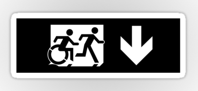 Accessible Exit Sign Project Wheelchair Wheelie Running Man Symbol Means of Egress Icon Disability Emergency Evacuation Fire Safety Sticker 123