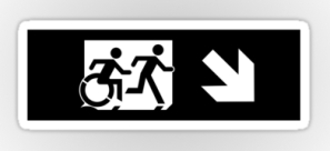 Accessible Exit Sign Project Wheelchair Wheelie Running Man Symbol Means of Egress Icon Disability Emergency Evacuation Fire Safety Sticker 124