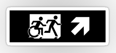 Accessible Exit Sign Project Wheelchair Wheelie Running Man Symbol Means of Egress Icon Disability Emergency Evacuation Fire Safety Sticker 125
