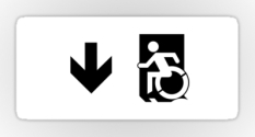 Accessible Exit Sign Project Wheelchair Wheelie Running Man Symbol Means of Egress Icon Disability Emergency Evacuation Fire Safety Sticker 126