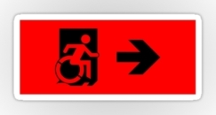 Accessible Exit Sign Project Wheelchair Wheelie Running Man Symbol Means of Egress Icon Disability Emergency Evacuation Fire Safety Sticker 129