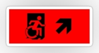 Accessible Exit Sign Project Wheelchair Wheelie Running Man Symbol Means of Egress Icon Disability Emergency Evacuation Fire Safety Sticker 130