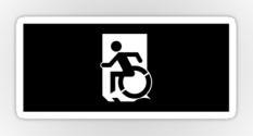 Accessible Exit Sign Project Wheelchair Wheelie Running Man Symbol Means of Egress Icon Disability Emergency Evacuation Fire Safety Sticker 132