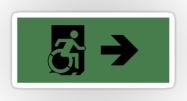 Accessible Exit Sign Project Wheelchair Wheelie Running Man Symbol Means of Egress Icon Disability Emergency Evacuation Fire Safety Sticker 16