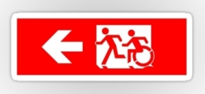 Accessible Exit Sign Project Wheelchair Wheelie Running Man Symbol Means of Egress Icon Disability Emergency Evacuation Fire Safety Sticker 18