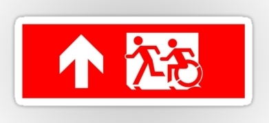Accessible Exit Sign Project Wheelchair Wheelie Running Man Symbol Means of Egress Icon Disability Emergency Evacuation Fire Safety Sticker 19