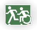 Accessible Exit Sign Project Wheelchair Wheelie Running Man Symbol Means of Egress Icon Disability Emergency Evacuation Fire Safety Sticker 2