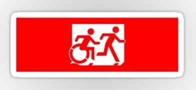 Accessible Exit Sign Project Wheelchair Wheelie Running Man Symbol Means of Egress Icon Disability Emergency Evacuation Fire Safety Sticker 20